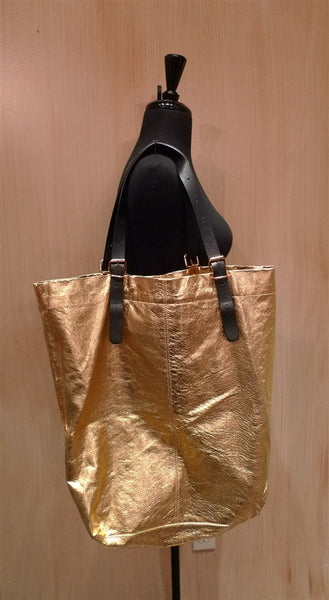 Jane August King's Road Leather Tote - Gold Metallic