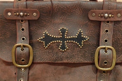 Jeff Gallea Leather Studded Messenger Bag