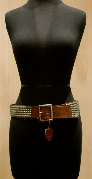Hollywood Trading Company Teal Studded Brown Belt