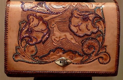 Roth Madge Brown Western Tooled Leather Purse with Swarovski Crystals