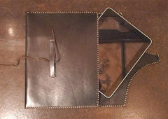 David Winter Handmade Leather IPad Case with Sterling Silver Filigree Icon