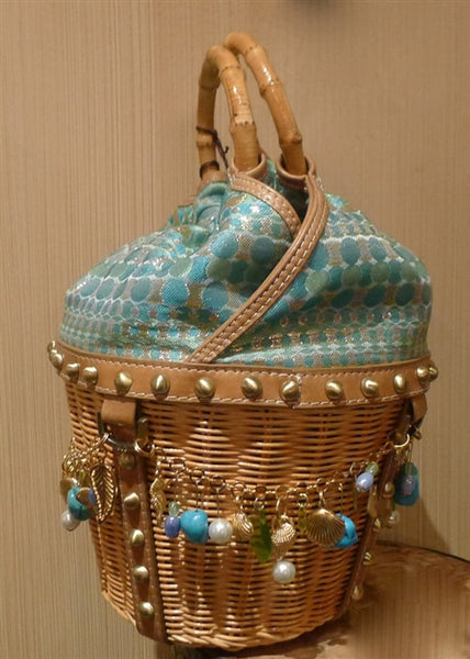 Rafe Basket Tote in Blue with Charms