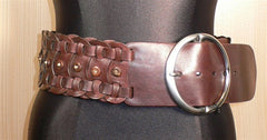Orciani Wide Brown Woven and Studded Leather Belt