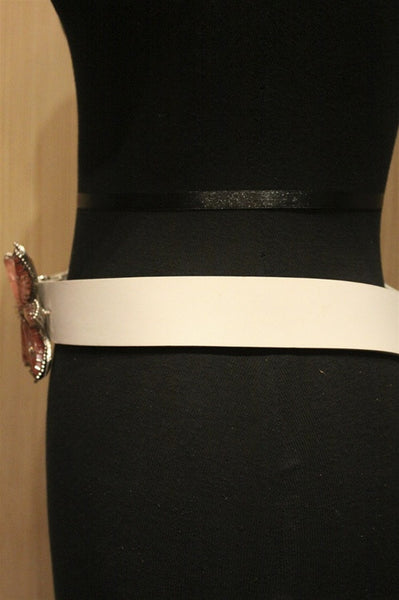 Orciani White Belt with Pink Crystal Flower Buckle