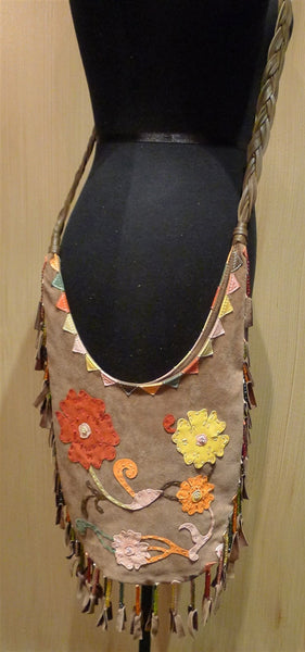 Orciani  Fringed Suede Shoulder Bag with Floral Applique and Beading