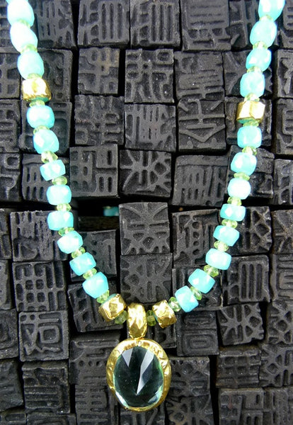 Nava Zahavi Ocean Sky Para Necklace with Peridot Beads and 24K Gold