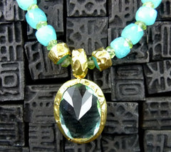 Nava Zahavi  Ocean Sky Para Necklace with Peridot Beads, Blue Topaz and 24K Gold.