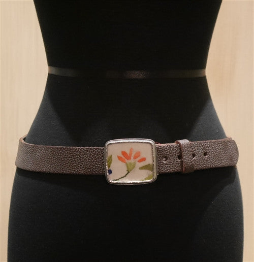 "B-Low The Belt ""Orange"" Flower Silk Fragment Belt"