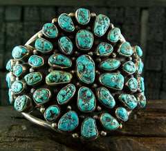 Old Pawn Silver and 220cts Morenci Turquoise Bracelet Cuff
