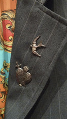 Mr. Winter Charcoal Pinstripe Boyfriend Blazer with Sterling Silver Charms on Lapel