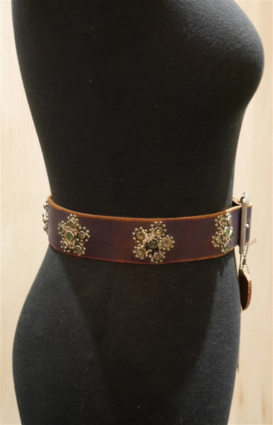 Hollywood Trading Company Turquoise and Purple Studded Leather Belt