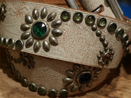Hollywood Trading Company Beige Jewel Studded Belt