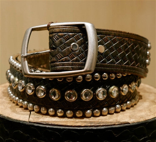 B-Low The Belt 3 Row Studded Crystal Belt