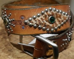 B-Low The Belt Leopard Inset Studded Tan Belt With Multi Colored Crystals