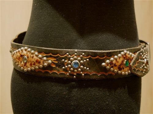 B-Low The Belt Leopard Inset Studded Black Belt with Multi Colored Crystals