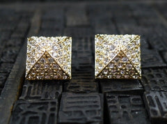 CC Skye Pave Pyramind Stud Earrings in Gold Finish