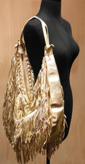 Jana Feifer Gold Metallic Fringe Shoulder Bag