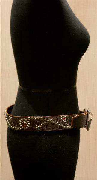 Hollywood Trading Company Brown Jewel Studded Belt