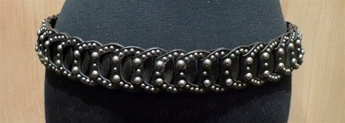 HTC Chain Mail Braided and Studded Belt in Black