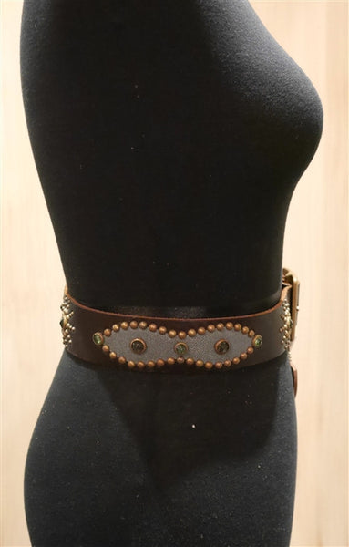 Hollywood Trading Company Jeweled Brown Leather Belt