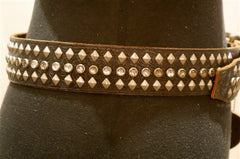 Hollywood Trading Company Brown 3 Row Studded Belt