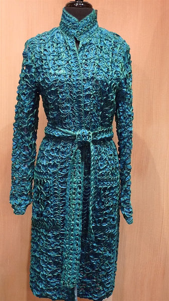 Vivienne Tam Floral Ribbon Coat Dress - Turquoise