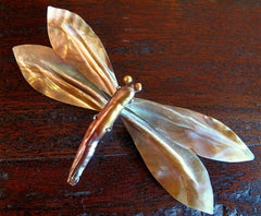 Siman Tu Dragonfly Brooch Pin of Mother of Pearl and Freshwater Pearls