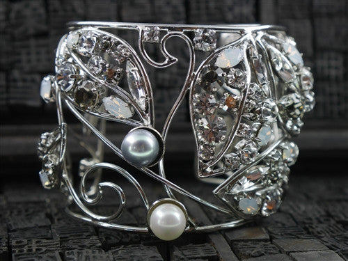 Philippe Ferrandis Cuff with Crystals and Pearls