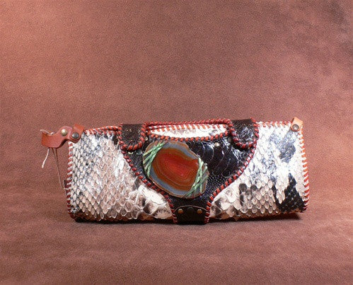 Malini Murjani Natural Python Handbag with Agate