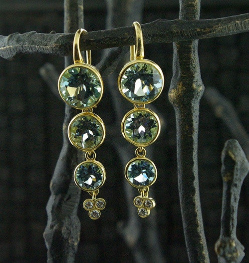 Ray Griffiths 18K Topaz and Diamond Earrings