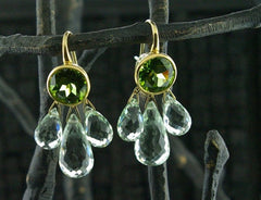 Ray Griffiths 18K Peridot and Green Amethyst Earrings