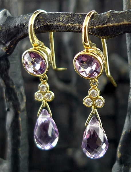 Ray Griffiths 18K Yellow Gold Amethyst and Diamond Earrings