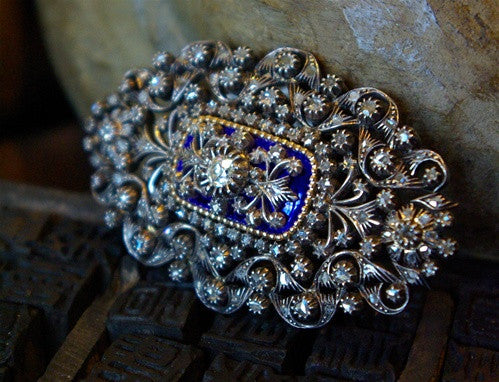 Estate Diamond and Blue Enamel Brooch circa 1900