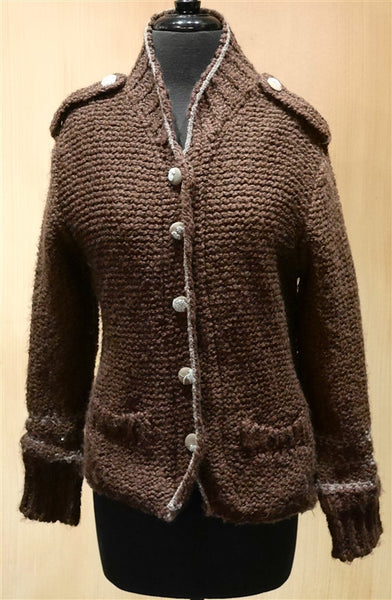 Grey Sweater Jacket with Epaulets
