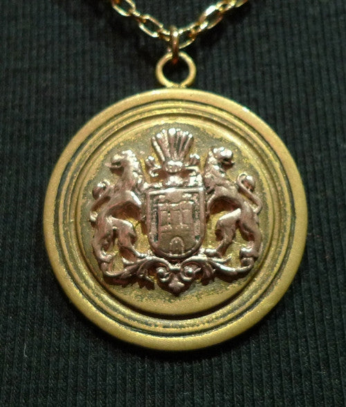 Arianne Jeanot Heraldic Crest Pendant on Chain Necklace