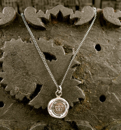 Pyrrha Butterfly  Pendant Necklace in Sterling Silver