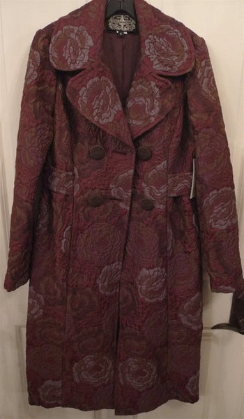 James Coviello Floral Damask Coat in Plum and Gold