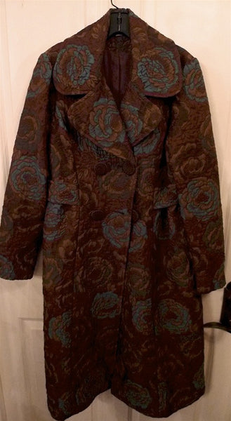 James Coviello Floral Damask Coat in Burgundy, Teal and Gold