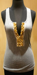 Post Vegas Gold Sequin V-Neck Tank Top