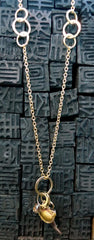 Melissa Joy Manning 18K Yellow Gold, Brown Diamond and Multi Charm Necklace
