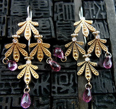 Jamie Wolf Leaf Earrings with Pink Tourmaline, Diamonds in 18K Rose Gold