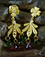 Jamie Wolf Pink and Green Tourmaline Briolette and Diamond Earrings in 18K Yellow Gold