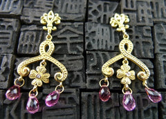 Jamie Wolf Clover Flower Swirl Pink Tourmaline and Diamond Earrings in 18K Yellow Gold