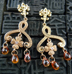 Jamie Wolf Peach Sapphire and Diamond Clover Swirl Earrings in 18K Rose Gold