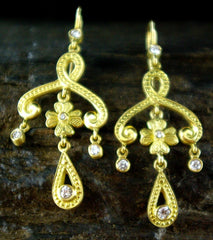 Jamie Wolf Scroll, Clover and Teardrop Diamond Earrings in 18K Yellow Gold