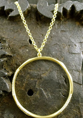 Ron Hami 18K Yellow Gold and Diamond Necklace of Carved Circular Pendant with Chain