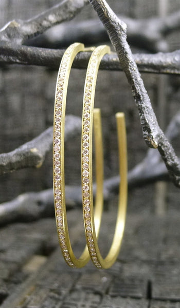 Ron Hami 18K Yellow Gold and Diamond Egg Shaped Hoop Earrings