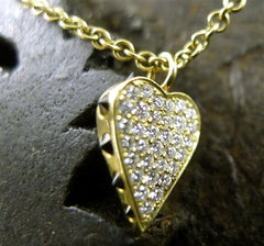 Ron Hami Thorned Heart Necklace with Black and White Diamonds in 18K Gold