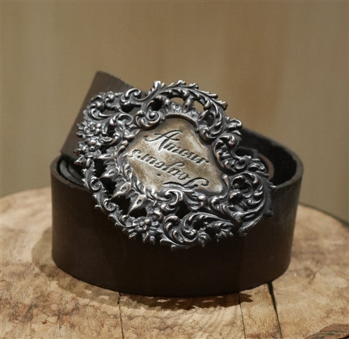 Catherine Michiels Bronze Amour Buckle with Brown Leather Belt