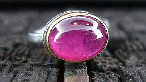 Jamie Joseph Sterling Silver and 14K Yellow Gold with African Ruby Ring
